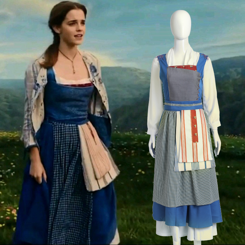 Adult Women Princess Belle Cosplay Dress Costume Halloween Southern Beauty And The Beast Maid Fancy Apron Dress Cosplay Costume