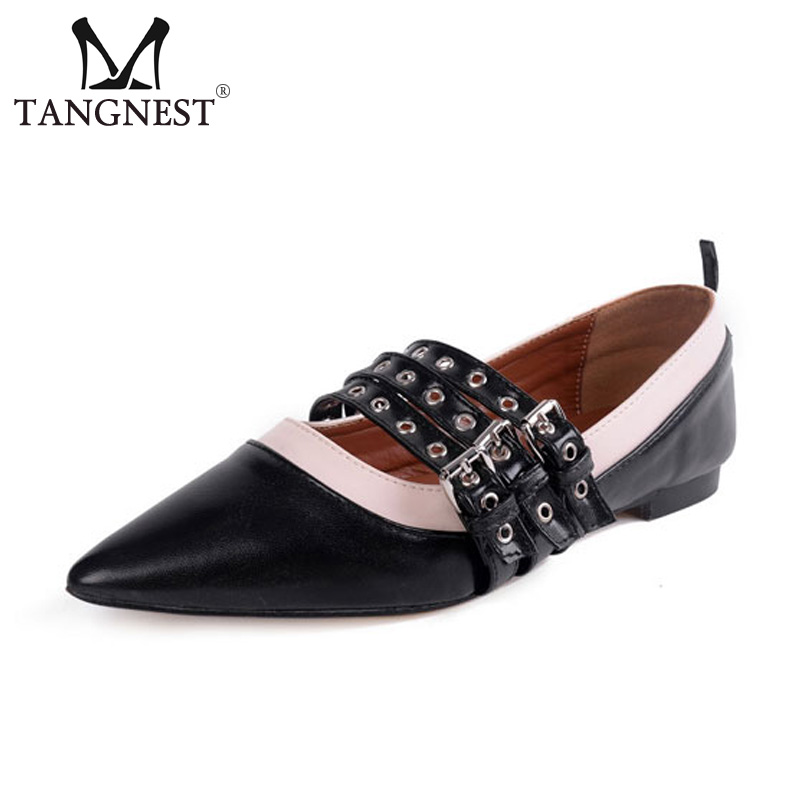 Tangnest Spring Summer Women Flat Shoes Fashion Pointed Toe Triple Buckle Women Casual Shoes Comfort Female Loafers XWD6597 sweet women high quality bowtie pointed toe flock flat shoes women casual summer ladies slip on casual zapatos mujer bt123