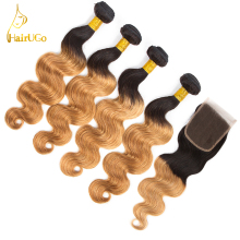 airUGo Hair Pre -colored Hair Weave 4 Bundles With Closure 4×4 1B/27 Ombre Brazilian Body Wave Human Hair Bundles Non Remy