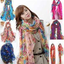 Fashion Pastoral Style Scarves Women Soft Silk Blend Floral Print Scarf