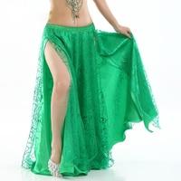 9 Colors New Women Belly Dance Clothes Full Circle Maxi Skirt Side Split Long Skirt 2