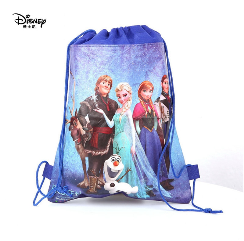 Disney Cartoon Drawstring Bags Children Frozen Mickey Bag Storage Girl Boy Birthday Gift Pocket Kid Swimming Package Toy Bag