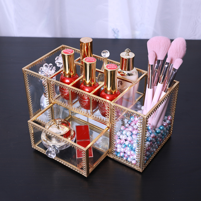 Glass Cosmetic Storage Box Nail Polish Organizer Skin Care Cosmetics Makeup Box Brush Tool Desktop Storage Case(China)