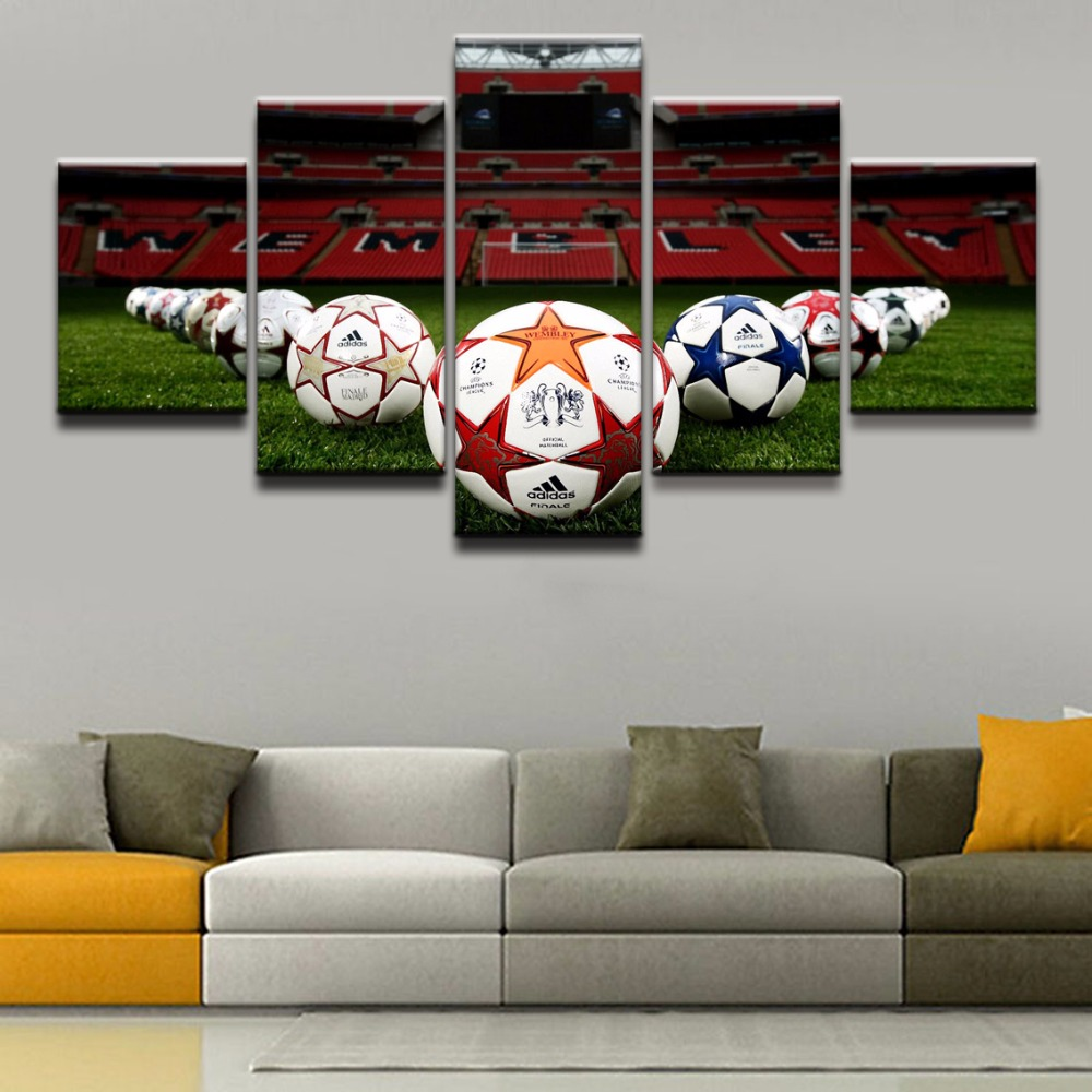 Canvas Painting Wall Art Home Decorative Pictures HD Printed 5 Pieces Sports Soccer Poster For Living Room Or Bedroom Decor
