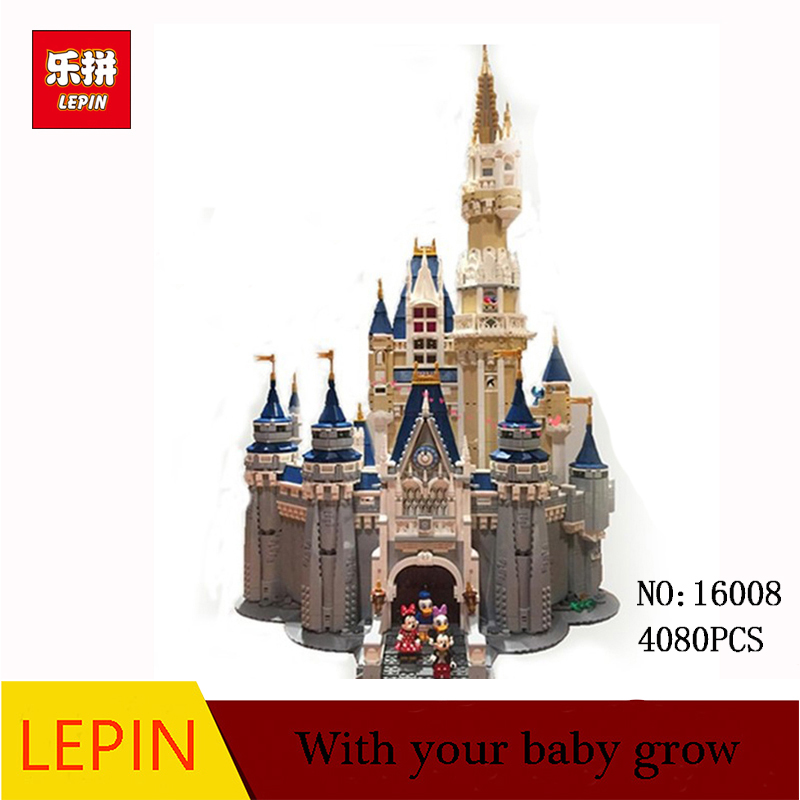 DHL LEPIN 16008 Cinderella Princess Castle City set 4080pcs Model Building Block Kid DIY Toy Birthday Gift Compatible 71040 new lepin 16008 cinderella princess castle city model building block kid educational toys for children gift compatible 71040