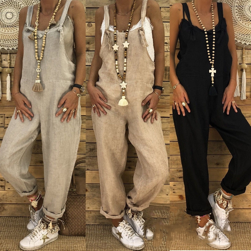 Fashion Women Clothes Casual Loose Pants Pure Color Chic Loose Strap Harem Trousers Overalls Lot