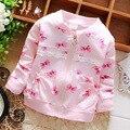 Primavera del cordón del arco ocasional de las muchachas del algodón chaquetas Cardigan bebé infante niños Casaco Outwear S2705