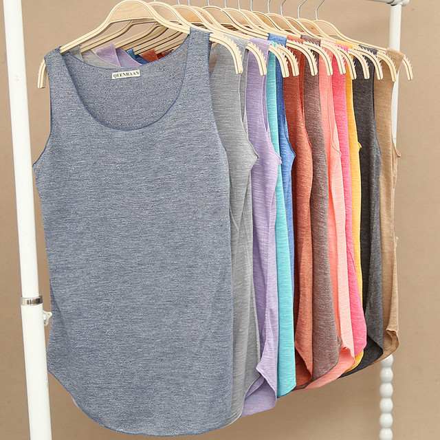 Spring Summer New Fitness Tank Tops Women Sleeveless Round Neck Loose T Shirt Ladies Vest Singlets Slim T-shirts Woman Clothes 1