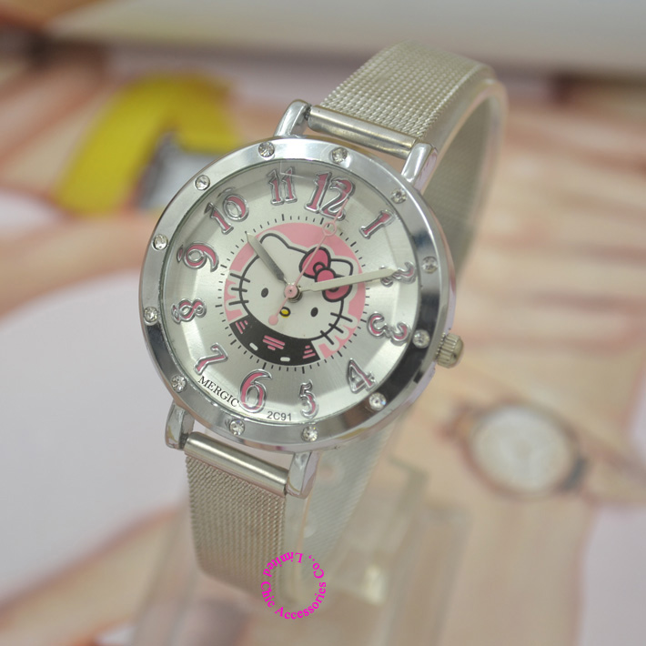 5b1b8951c Cat Quartz Hello Kitty Watch Women Luxury Fashion Lady Girl Silver  Stainless Steel Net Band Cute Wristwatch Crystal Hour Pink-in Women's  Watches from ...
