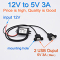 New Dual 2 USB DC-DC Car Converter Module Cable with mounting hole input DC 12V To USB Ouput 5V 3A 15W Power Adapter