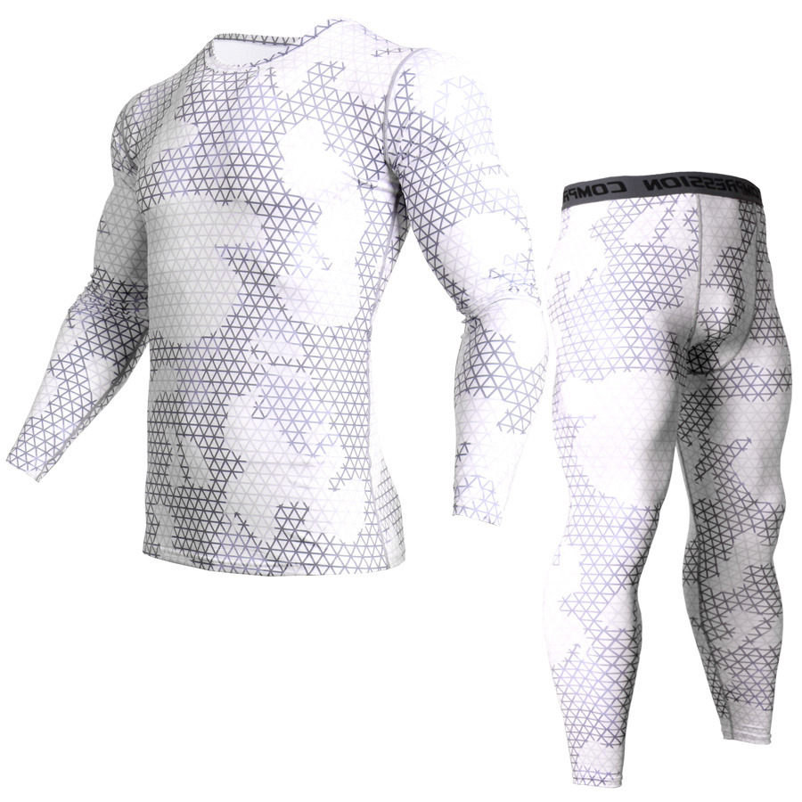 White Running Set Men Compression Sports Underwear Fitness Training Quick Dry Clothes rashgard kit Weightlifting stretch tights-in Running Sets from Sports & Entertainment on AliExpress