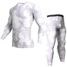 White Running Set Men Compression Sports Underwear Fitness Training Quick Dry Clothes rashgard kit Weightlifting stretch tights