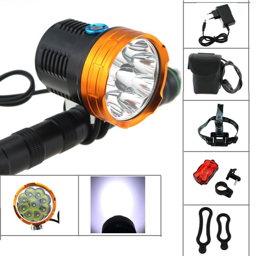 все цены на 9T6 15000 lumen Cycling mountain bike front light 9x cree xm-l t6 led bicycle head lamp + 20000mah 26650 battery pack+Charger онлайн