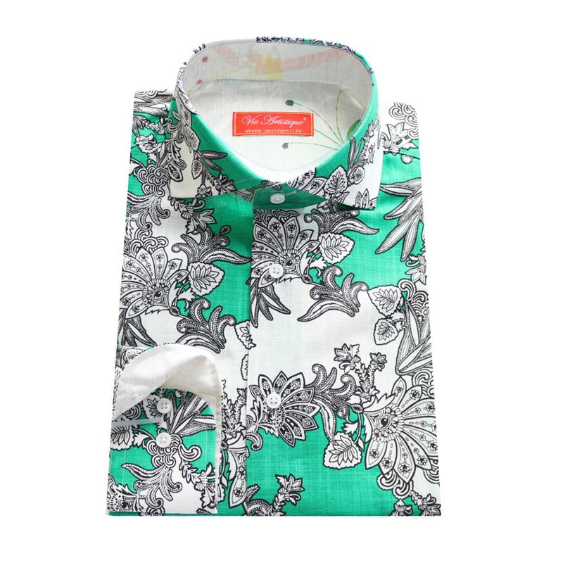 2017 green linen with printed black/white paisley male casual fashion shirt,man's tailor made bespoke MTM dress blouse freeship