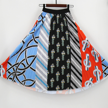 Fashion Geometric Summer Patterns Character Skirt Waist Women Elastic Spring Pleated Long Skirts Female
