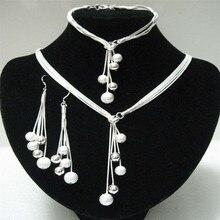 Silver Jewelry Set for Women Snake Chain Beads Y-Shape Necklace Bracelet Earrings 3 pcs Bridal