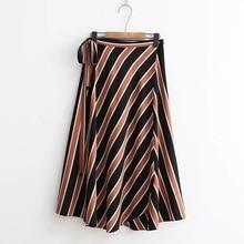 2017 Autumn New Style Women Fashion High Waist Diagonal Striped One-piece Bandage Casual Long Length  Skirts