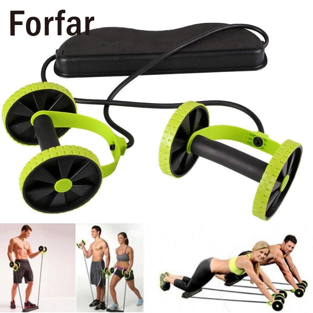 Forfar Double Roues Rouleau Sport Stretch Élastique Abdominale Résistance Traction Corde Outil Abdominale formateur musculaire exercice