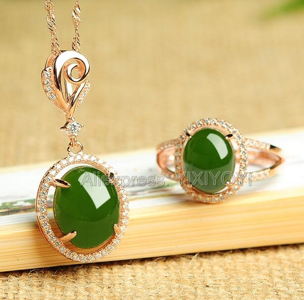 925 Silver Natural Green HeTian Jade Jasper Beads Inl Hollow Lucky Pendant Necklace Ring Woman's Fine Jewelry Set Girl's Gift