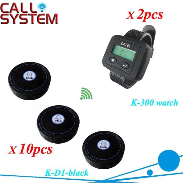 Wireless servicio de camarero paging llamada sistema de llamada para bar 2 reloj de pulsera pager K-300 receptor con 10 unids botón de la tabla