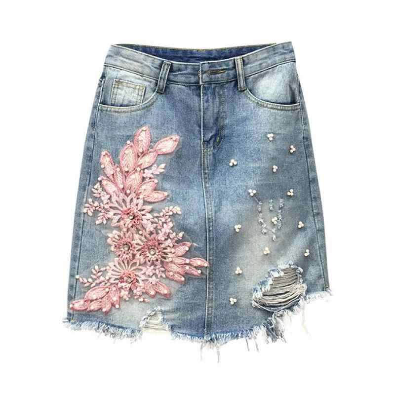 d131ae892 Summer Designer Women Embroidery Rhinestone Flower Ripped Hole Pencil Denim  Skirt , Casual Tassel Pearls Jeans