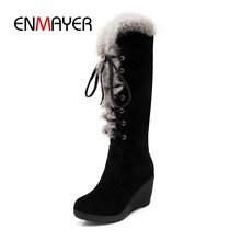 ENMAYER Fashion women flock round toe solid faux fur lade up wedges boots lady high heel boots Big size 34-39 ZYL624 стоимость
