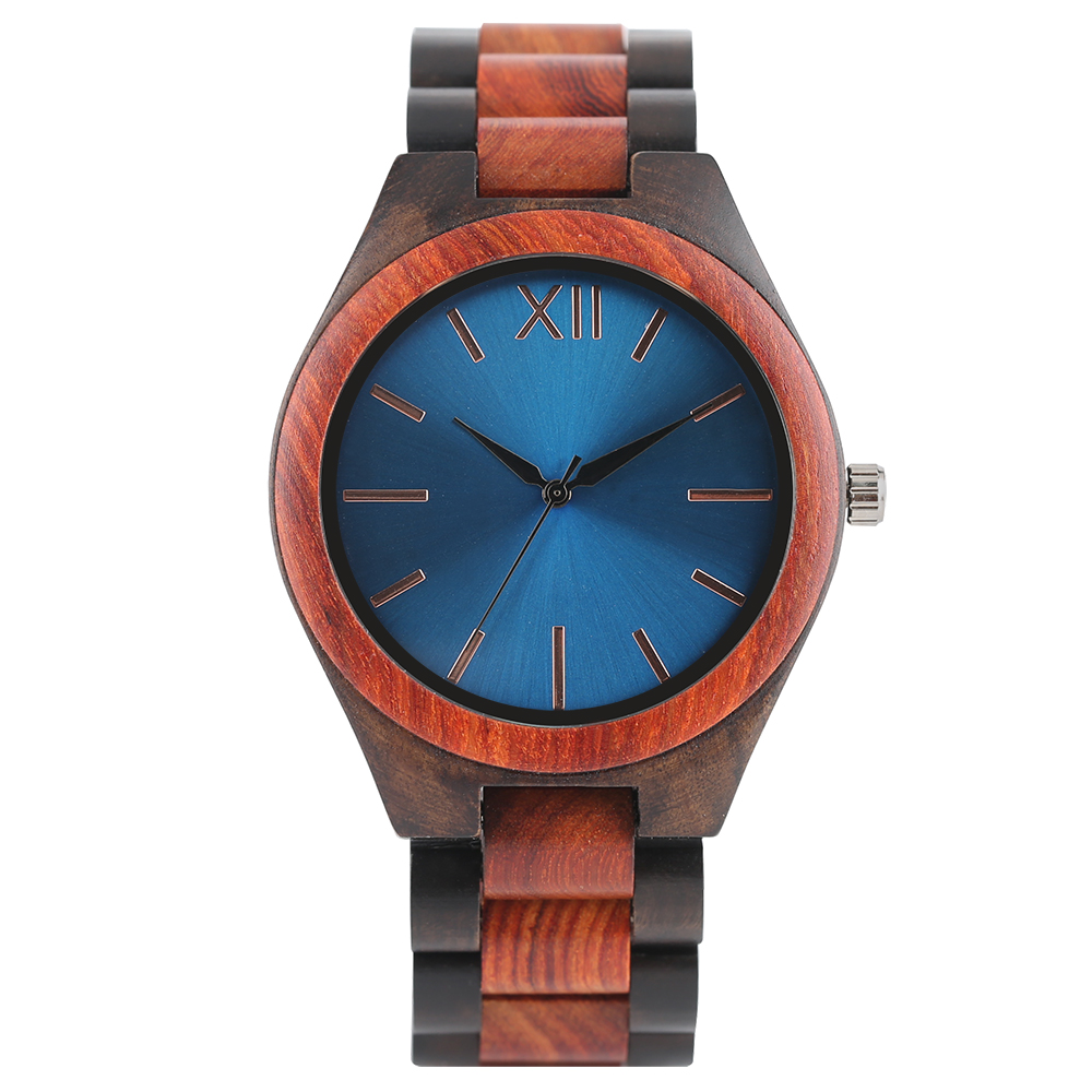 Trendy Quartz Red Bamboo Wood Wrist Watch Men Fold Clasp Strap New Arrival Handmade From Real Wooden Watches Relogio Masculino luxury top brand full wooden watches handmade nature wood hollow wrist watch women men fold clasp creative casual bamboo gifts