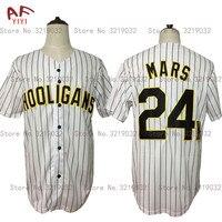 AIFEIYIYI New Cheap Bruno Mars 24K Hooligans White Pinstriped Baseball Jersey BET Awards Button Down Stitched