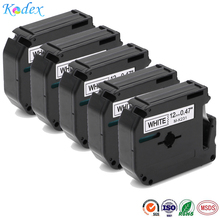 5PK Compatible Brother P-touch MK231 M-k231 Label Tape 12mm 1/2 Inch x8m 26.2ft Length Black on White M Tapes for  PT-65 PT-90