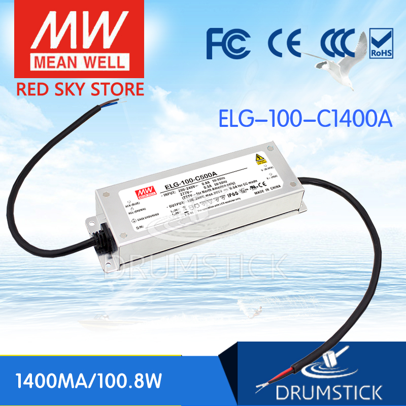 MEAN WELL ELG-100-C1400A 75V 1400mA meanwell ELG-100 100.8W Single Output LED Driver Power Supply A type [Real6] цена