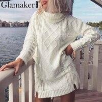 Glamaker Turtleneck knitting split white sweater Women long sleeve cotton jumper Female spring summer fashion casual pullover