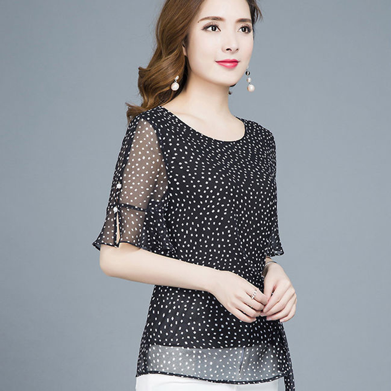 Summer Vintage Polka Dot Chiffon Women   Blouse     Shirts   Plus Size 5XL Ruffle Sleeve Womens   Blouses   Blusas Camisas Mujer DF2401