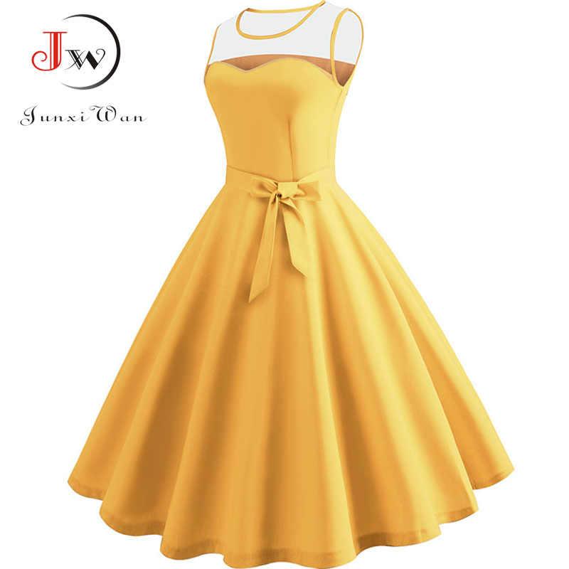 Verão hepburn vestidos vintage para mulher vermelho amarelo azul roxo rockabilly túnica rendas retalhos sexy vestido de festa robe femme