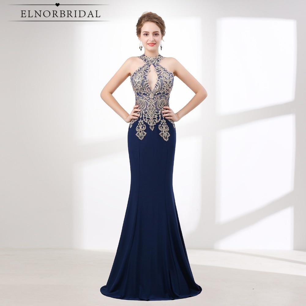 Navy Blue Mermaid   Prom     Dresses   2019 Vestido Formatura Lace Formal Women   Dress   Illusion Lace Evening Gowns Galajurk