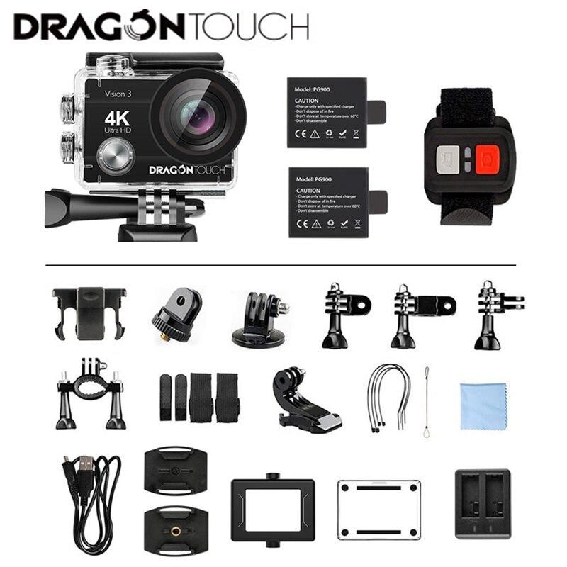 Caméra d'action Dragon Touch 4 K 16MP Vision 3 caméra étanche sous-marine 170 ° grand Angle WiFi caméra de sport avec télécommande