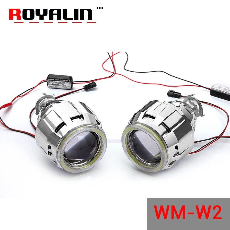 ROYALIN WM W2 2.5 Bi Xenon L ens Halogène H1 Projecteur Phares objectif avec 70mm LED COB Ange Yeux Salut/lo pour H4 H7 Voiture lumières