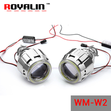 ROYALIN WM W2 2.5 Bi Xenon L ens Halogen H1 Projector Headlights Lens with 70mm LED COB Angel Eyes Hi/lo for H4 H7 Car Lights