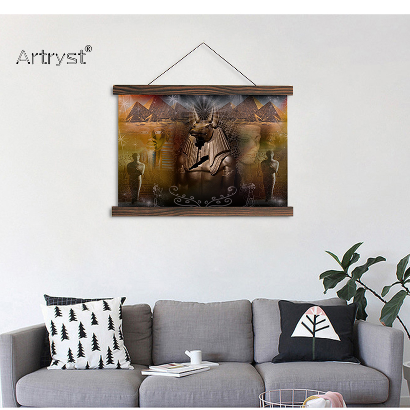 Artryst modern home decoration wall art painting anubis ancient egyptian tomb pyramids image hanging canvas painting on the wall