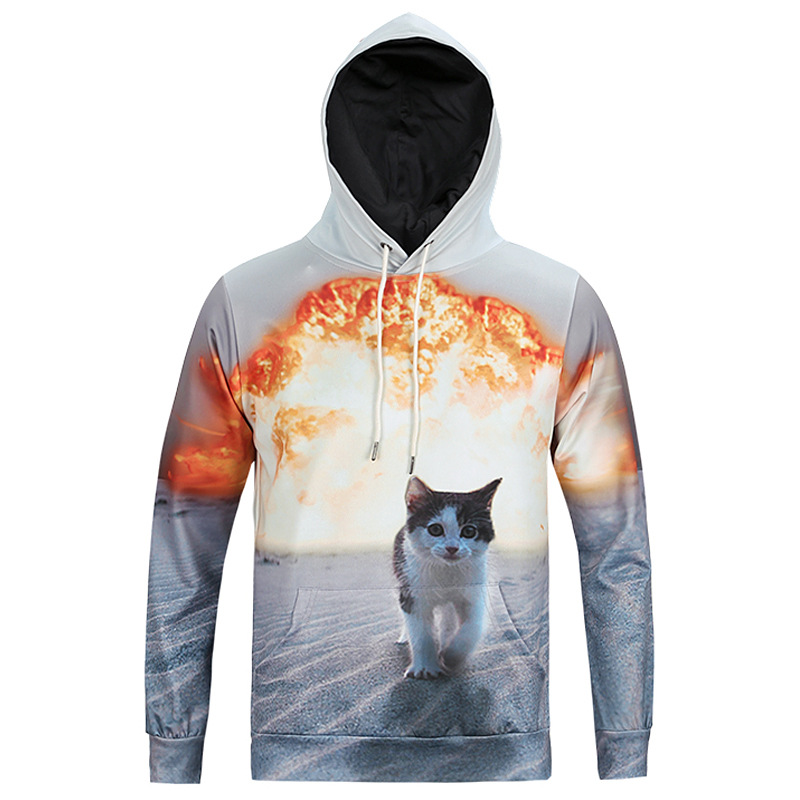 2018 3D Print Walking Cat Women/Men Sweatshirt Hoodies with Hat Fire Hip Pop Loose Hoodies Warm Digital Harajuku Hoodies Unisex