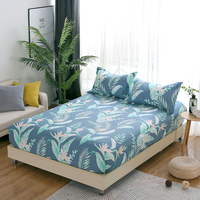 3pcs Colorful leaves Fitted Sheet comfortable blue pillowcase Twin Full Queen king Size soft Elegant style Bed sheet set