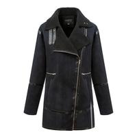 2015 Fashion European And American Women New Autumn Winter Oblique Zipper Cashmere Casual Jacket Thicken Warm Outerwear Coat 6