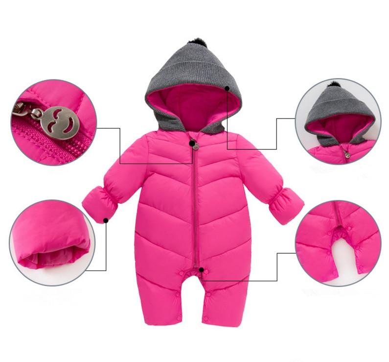 0f40563b70cf Baby Girls Boy Snowsuit Down Cotton Rompers Hoodies Newborn Overalls ...