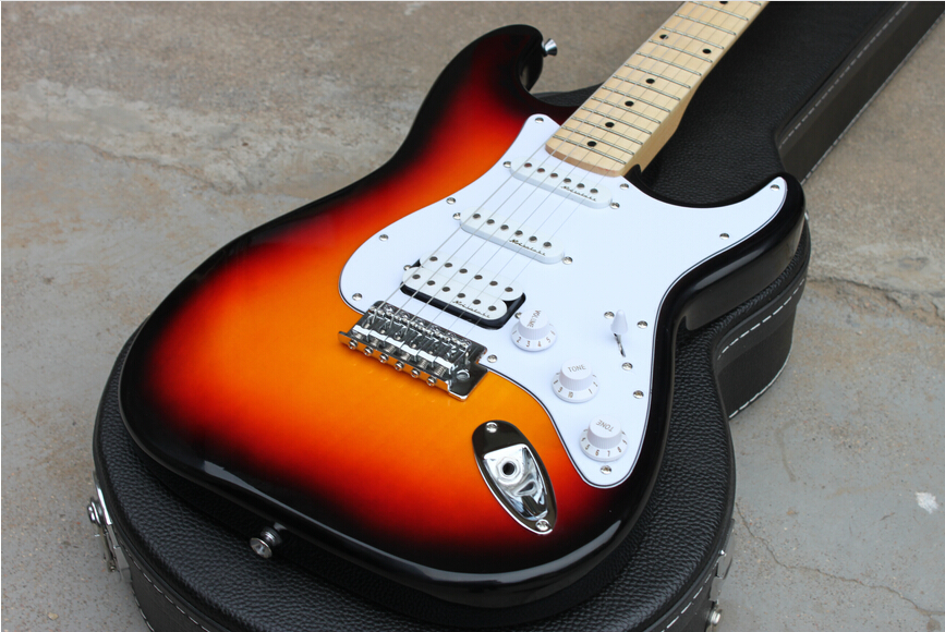 Best PriceNew Stratocaster sunset sunburst body maple fretboard double pickups Electric Guitar in stock !! Free shipping