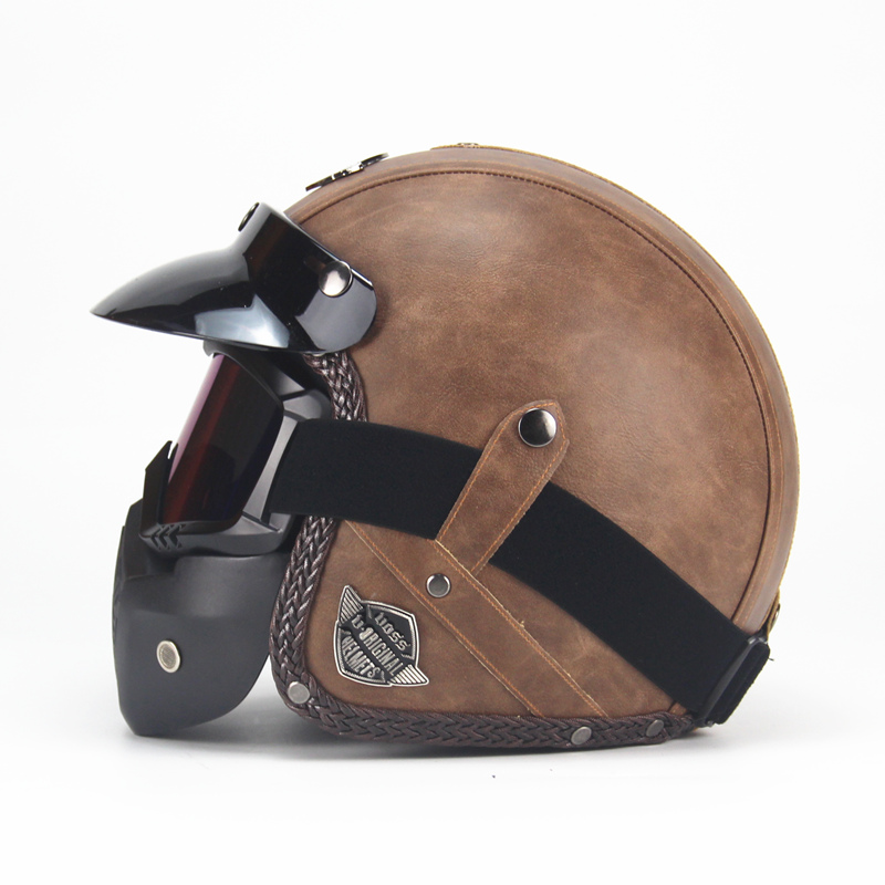 Free Shipping PU Leather  Helmets 3/4 Motorcycle Chopper Bike Helmet Open Face Vintage Motorcycle Helmet With Goggle Mask