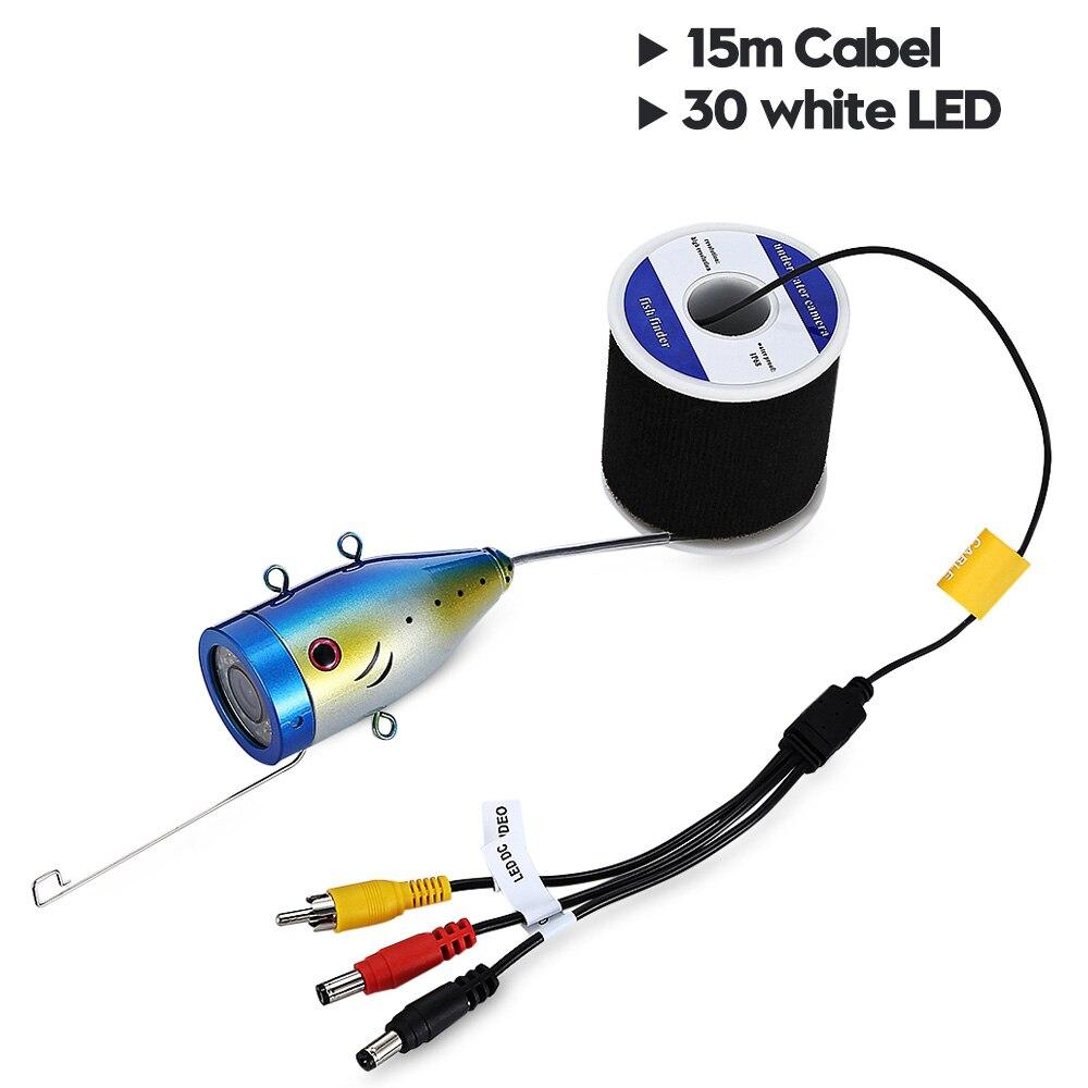 7,0 дюймов 15 м 1000TVL подводный рыболокатор рыболовная камера 15 шт белые светодиоды+ 15 шт инфракрасная лампа рыболокатор IP68 водонепроницаемый - Цвет: 15m 30pcs white LEDS
