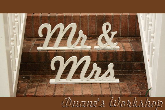 Aged Wooden Painted Mr And Mrs Photography Prop, Wooden