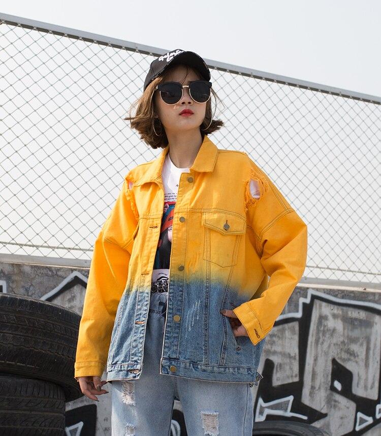 Primavera Estilo Color Azul Y Abrigo Chaquetas Las Otoño De Agujero Lavado Denim Gradiente Bf Mujeres amarillo Chaqueta rrZw814q