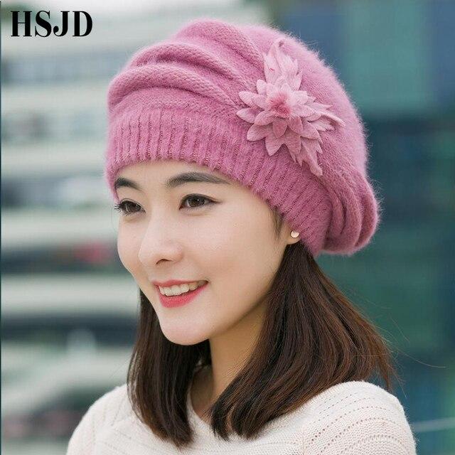Las mujeres elegantes de punto sombrero de piel de conejo boinas de otoño flor de invierno gorros de ganchillo tapas damas mujer grueso sombrero de la boina