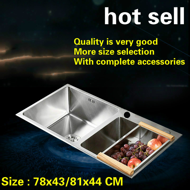 Free Shipping Standard Kitchen Sink Thick Durable Manual Food Grade 304 Stainless Steel Double Groove 78x43/81x44 CM