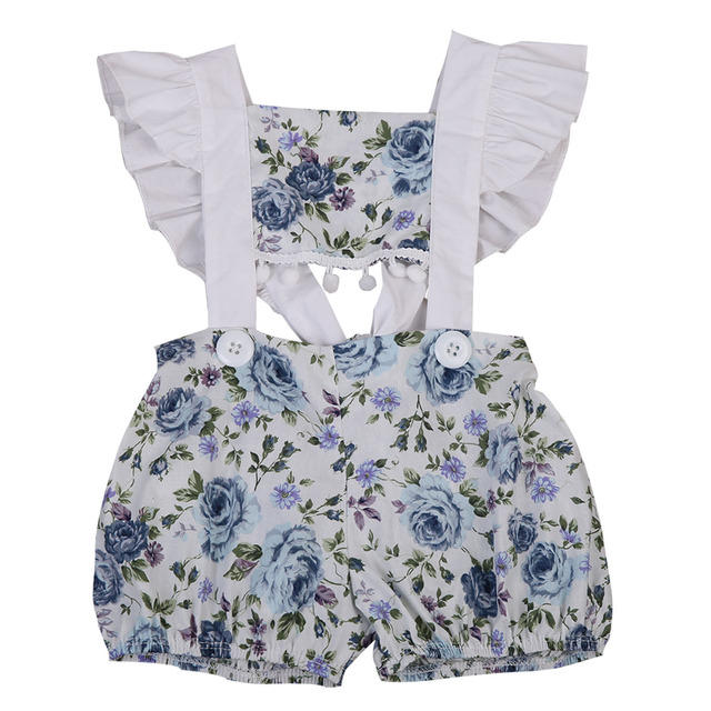 2326393b4b2 casual cotton sleeveless Newborn Baby Girls Floral Halter Romper Outfits  Sunsuit Clothes 0-24M